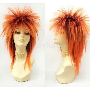 Orange long layered spiked punk rock wig